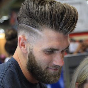 mega volume pompadour with line detail