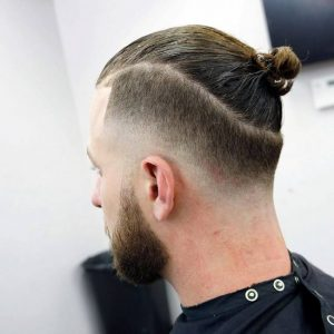 Drop fade man bun