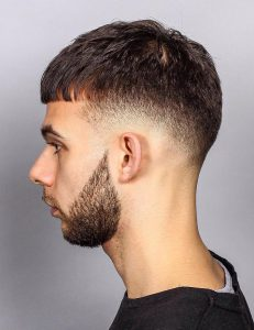 straight fringe low drop fade