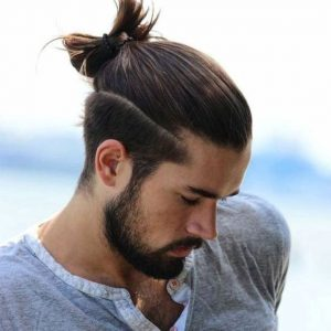 man-bun-with-low-side-line-design