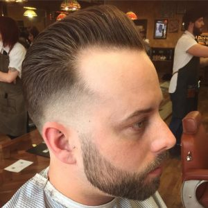 Pushed-Back Pompadour