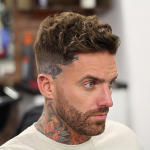 curly cut with skin fade