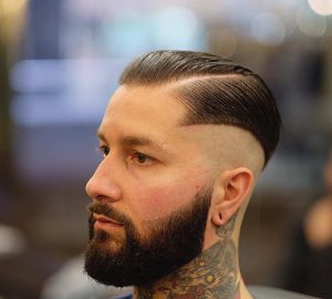 Slicked Style With Bald Sides
