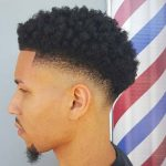 defined curls with drop fade