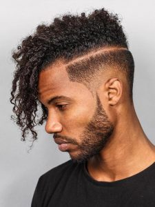 long curls razor line undercut