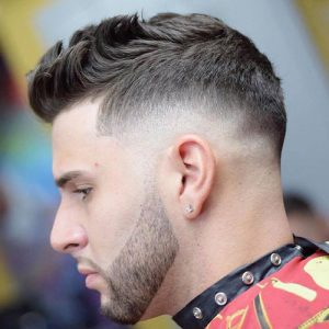 quiff with drop skin fade