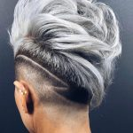 Punk Hairstyles for Women – Platinum Faux Hawk with Tram Line